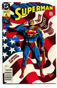 SUPERMAN #53-comic book-Newsstand-American Flag-1991-classic cover-dc-