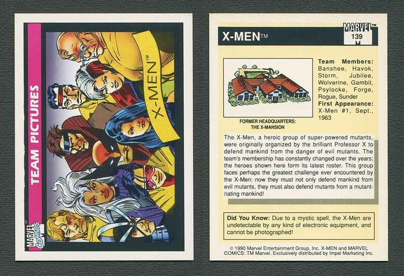1990 Marvel Comics Card  #139 (X-Men Team) / NM-MT++