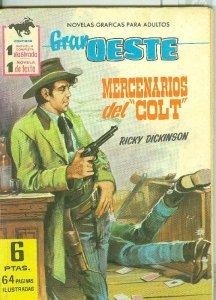 Gran Oeste numero 209: Mercenarios del Colt, trasera foto ficha de Sylvia Sims
