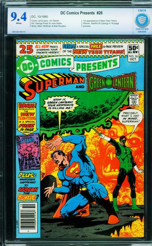 DC Comics Presents #26-cbcs 9.4 -WHITE PAGES-FIRST NEW TEEN TITANS/CYBORG