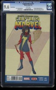 Captain Marvel (2014) #17 CGC NM+ 9.6 White Pages 2nd Print 1st Kamala Khan!