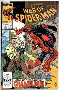 WEB of SPIDER-MAN #54, VF+, Chameleon, 1985 1989, more Marvel in store