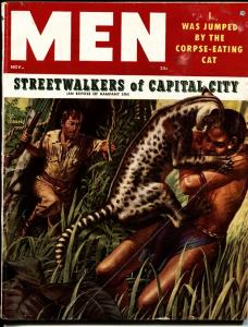 Men Nov 1955 - Jungle cat attack - cheesecake - WWII - bad mags