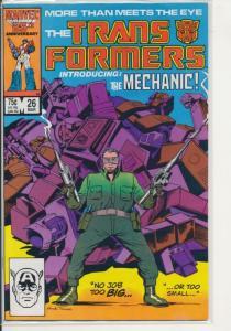 Marvel The Transformers #26 1987 VF (8.0) the Mechanic (451J)