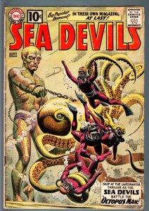 SEA DEVILS #1-DC-1961-GREY TONE COVER-RUSS HEATH INTERIOR ART-CLASSIC - G/VG