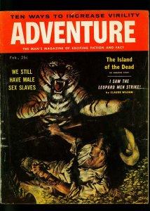 Adventure Pulp Magazine February 1957- Tiger cover- Arthur C Clarke- VG