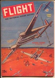 Flight #4 4/1941-Gernsback-fantasy air war cover-WWII-plane/tank-FN