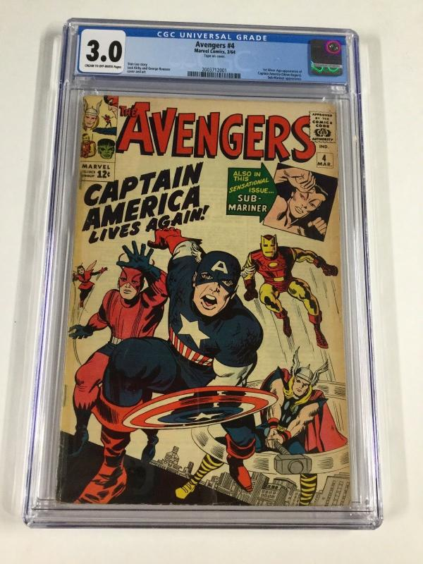 Avengers 4 Cgc 3.0 1st Silver Age Appearance Of Captain America Marvel
