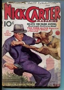 NICK CARTER-JULY 1934-DET PULP FICTION-MAD DOG-DEATH ON PARK AVE-good minus