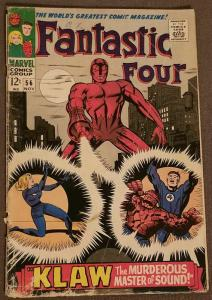 Fantastic Four #56 VG- Featuring the Klaw Master of Sound Nov. 1966
