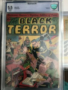 Black Terror #5 Alex Schomburg Cover 5.5 CBCS Golden Age Classic