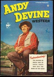 ANDY DEVINE WESTERN #1-1950-PHOTO COVER-HIGH GRADE VF-