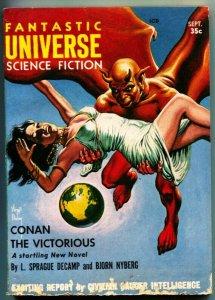 FANTASTIC UNIVERSE SCIENCE FICTION-Sept 1957-Pulp-CONAN-Finlay cover