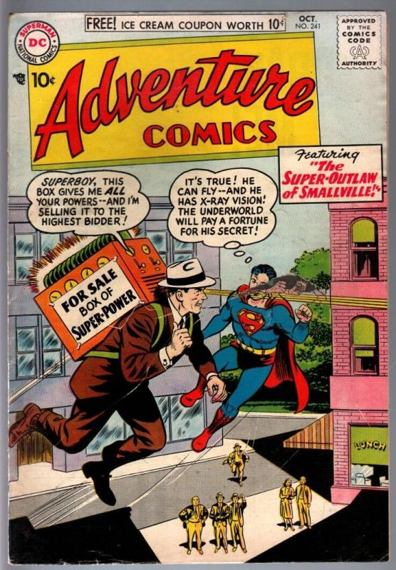 Adventure Comics #241 1957 Superboy Aquaman Green Arrow Golden Age G