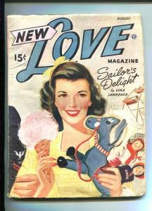 NEW LOVE-AUG 1945-ROMANTIC PULP FICTION-PIN-UP GIRL CARNIVAL COVER-vg