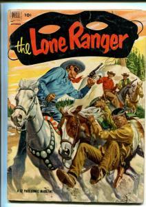 LONE RANGER #51-1952-DELL-WESTERN-RADIO-TV-SECRET IDENTITY-THRILLS-good/vg