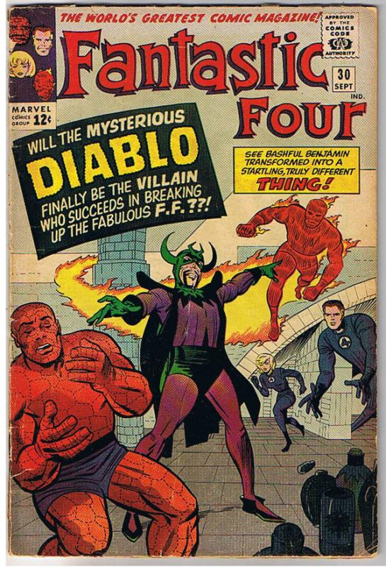 FANTASTIC FOUR #30, VG-,  Intro Diablo, Human Torch, Jack Kirby,more FF in store