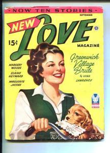 NEW LOVE-SEP 1943-ROMANTIC PULP FICTION-PIN-UP GIRL COCKER SPANIEL COVER-fn min