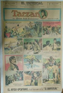 Tarzan Sunday Page #637 Burne Hogarth from 5/23/1943 in Spanish! Full Page Size