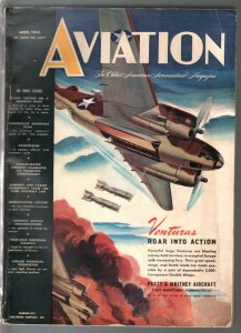 Aviation 4/1943-WWII aircraft-photos-illustrations-art-450+ pages-VG