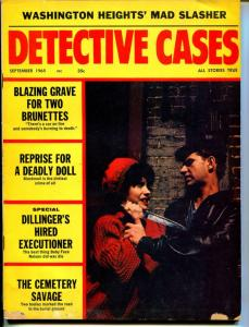 Detective Cases 9/1965-Globe-spicy babe-Dillinger-large knife-VG