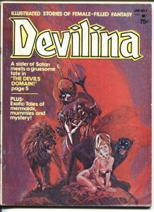 DEVILINA MAGAZINE #1 1975-WILD COVER-VAMPIRE-ESTRADA-GG FN