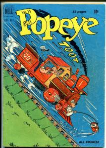 Popeye #14 1950-Dell-train cover-Wimpy-Sweet Pea-Olive Oyl-VG