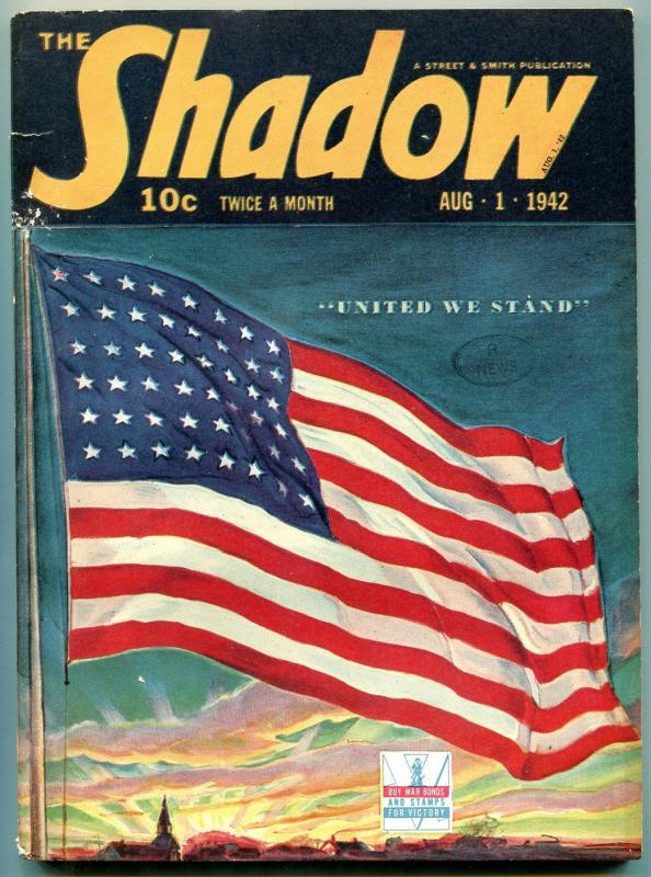 The Shadow Pulp August 1 1942- Patriotic Flag cover- Legacy of Death