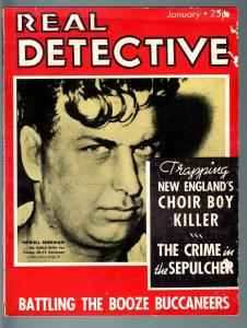 REAL DETECTIVE-JAN 1936-PULP TRUE CRIME-BOOZE BUCCANEERS VS THE COAST GUARD VG
