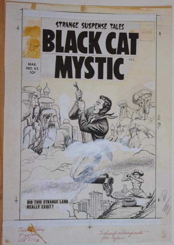 DOUG WILDEY (attributed) original art, BLACK CAT MYSTIC Cover #62,13x19, 1958