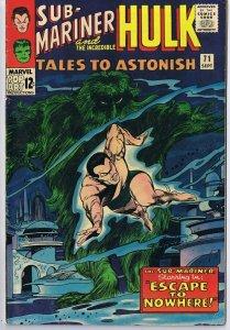 Tales to Astonish #71 ORIGINAL Vintage 1965 Marvel Comics Hulk Sub Mariner