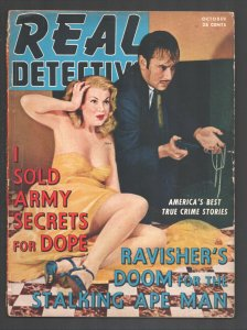 Real Detective 10/1941-Good Girl Art cover-Crime-violence-exploitation-pulp t...