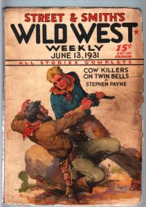 WILD WEST WEEKLY-6/13/1931-PULP-COW KILLERS G/VG