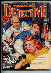 THRILLING DETECTIVE 05/1945-HARD BOILED CRIME-FREDRIC BROWN-PULP-good minus