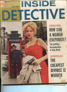 INSIDE DETECTIVE-JULY 1962-SPICY-MURDER-KIDNAP-RAP-BILL STONE COVER--poor P