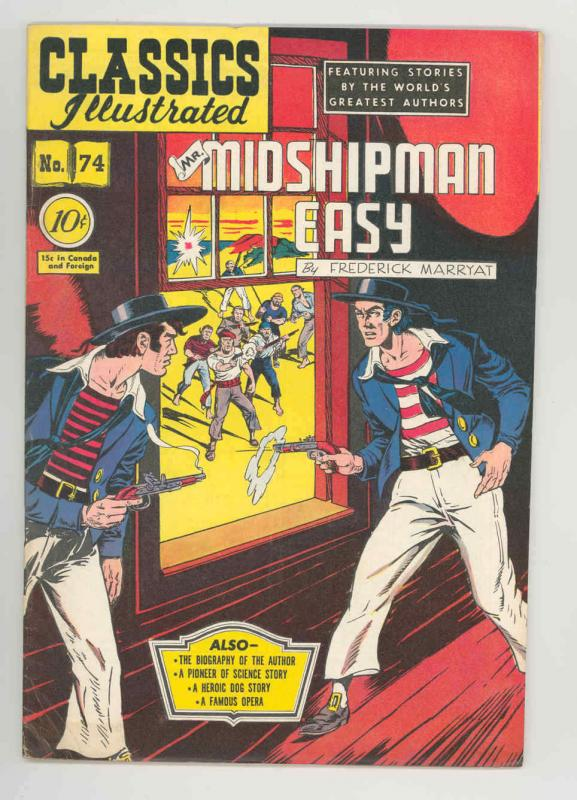 CLASSICS ILLUSTRATED #74 (0) .1950. KEY ONLY EDITION NICE FN+