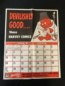 HOT STUFF Harvey Comics Promo Sales Calendar Poster  July 1968