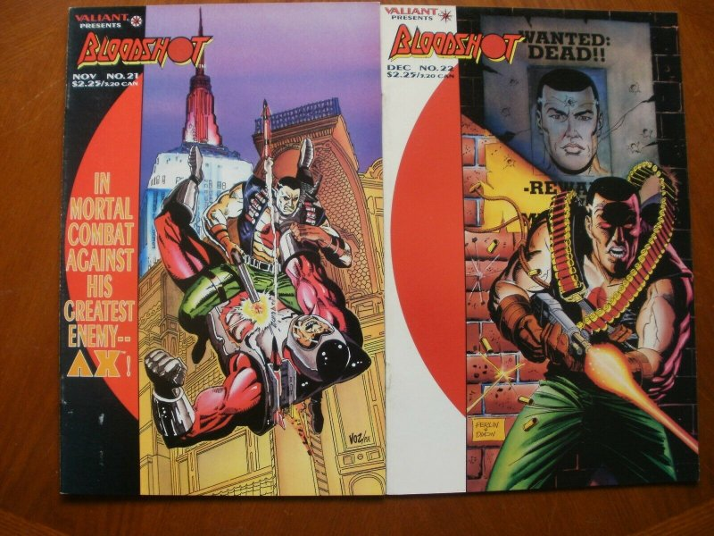2 Near-Mint Valiant BLOODSHOT #21 The More Things Change #22 Wanted Dead Alive