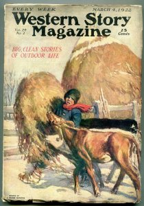 Western Story Magazine Pulp March 4 1922- Shrader cover FN-