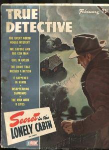 TRUE DETECTIVE FEB 1944-G-AL CAPONE-CRIME-MURDER-PULP-MAGAZINE FR/G