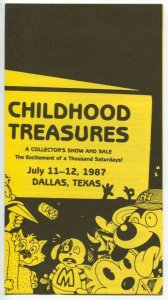 Childhood Treasures Convention Flyer 7/1987-tr-fold advertising flyer-historic f