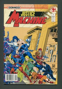Justice Machine #1  / 8.5 VFN+  Newsstand  January 1987