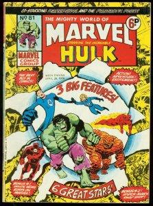 MIGHTY WORLD OF MARVEL #81 1974-HULK-F4-DAREDVEIL-UK VG