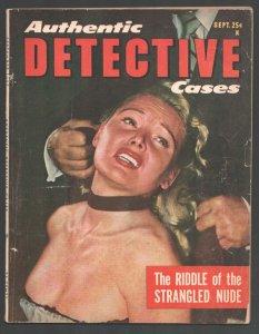Authentic Detective9/1952-Strangulation cover-Exploitation-posed photos-Kille...