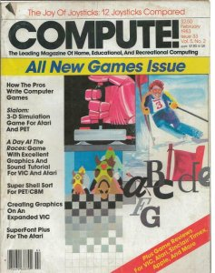ORIGINAL Vintage Compute Magazine #33 Feb 1983 Atari Slalom