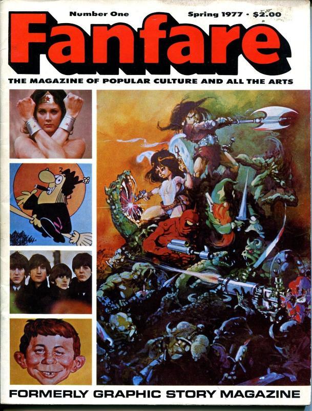 Fanfare #1 1977-1st issue-popular culture zine-Lynda Carter-Beatles-drugs-VG