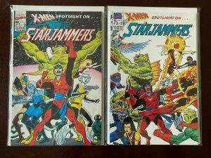 X-Men Spotlight on Starjammers set #1+2 8.0 VF (1990)
