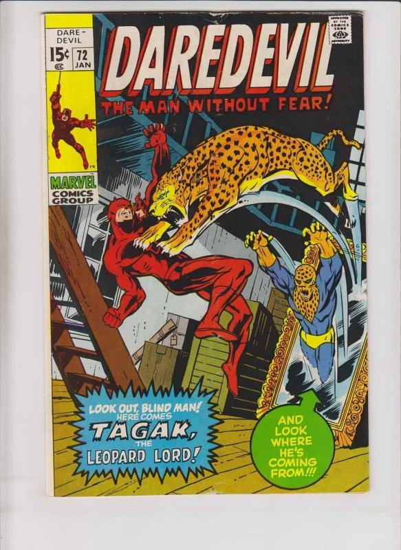 Daredevil #72 FN- january 1971 - first appearance of tagak the leopard lord