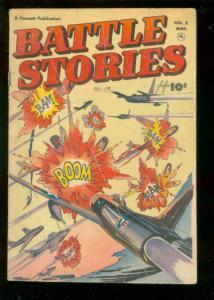 BATTLE STORIES #2 1952-FAWCETT-AIR WAR EXPLOSION COVER G/VG