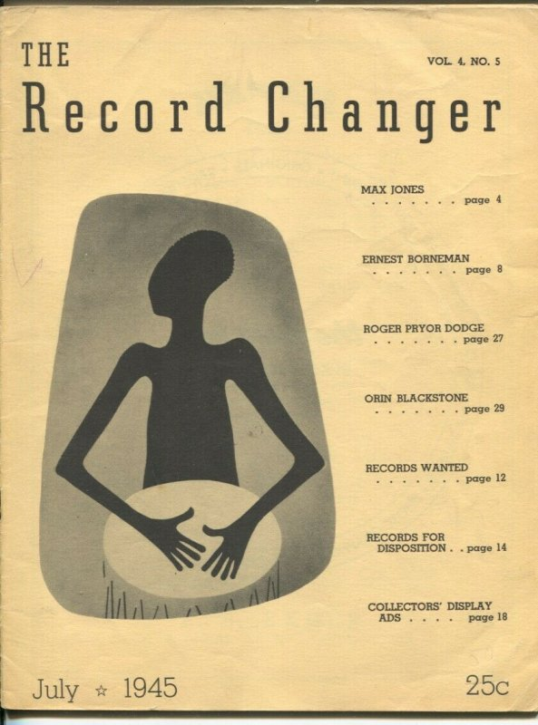 Record Changer 7/1945-jazz & music info for collectors & fans-buy/sell ads-VG